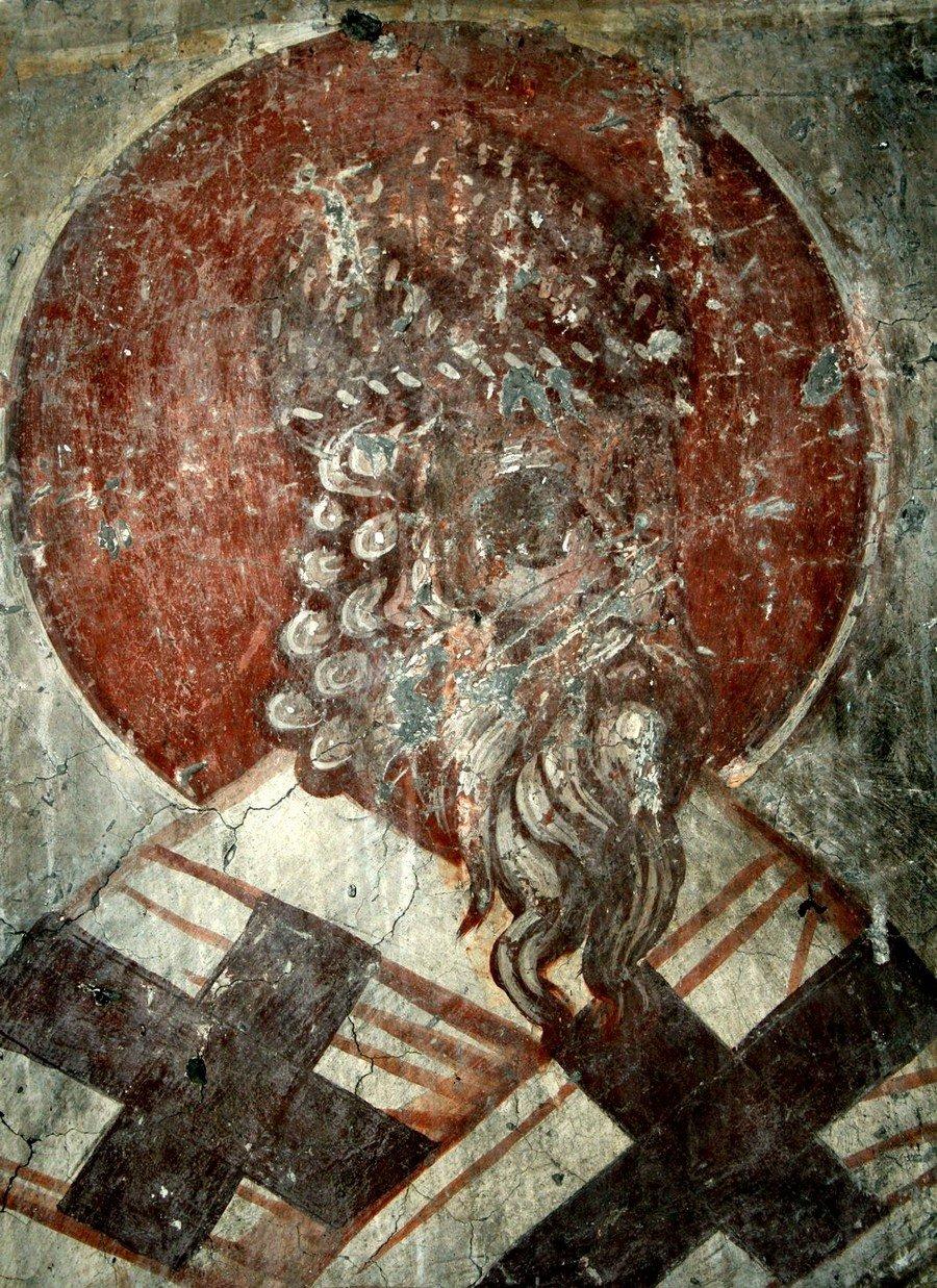 Святитель Спиридон, Епископ Тримифунтский, Чудотворец. Фреска церкви Введения во храм в Липляне, Косово и Метохия, Сербия. Около 1376 года.