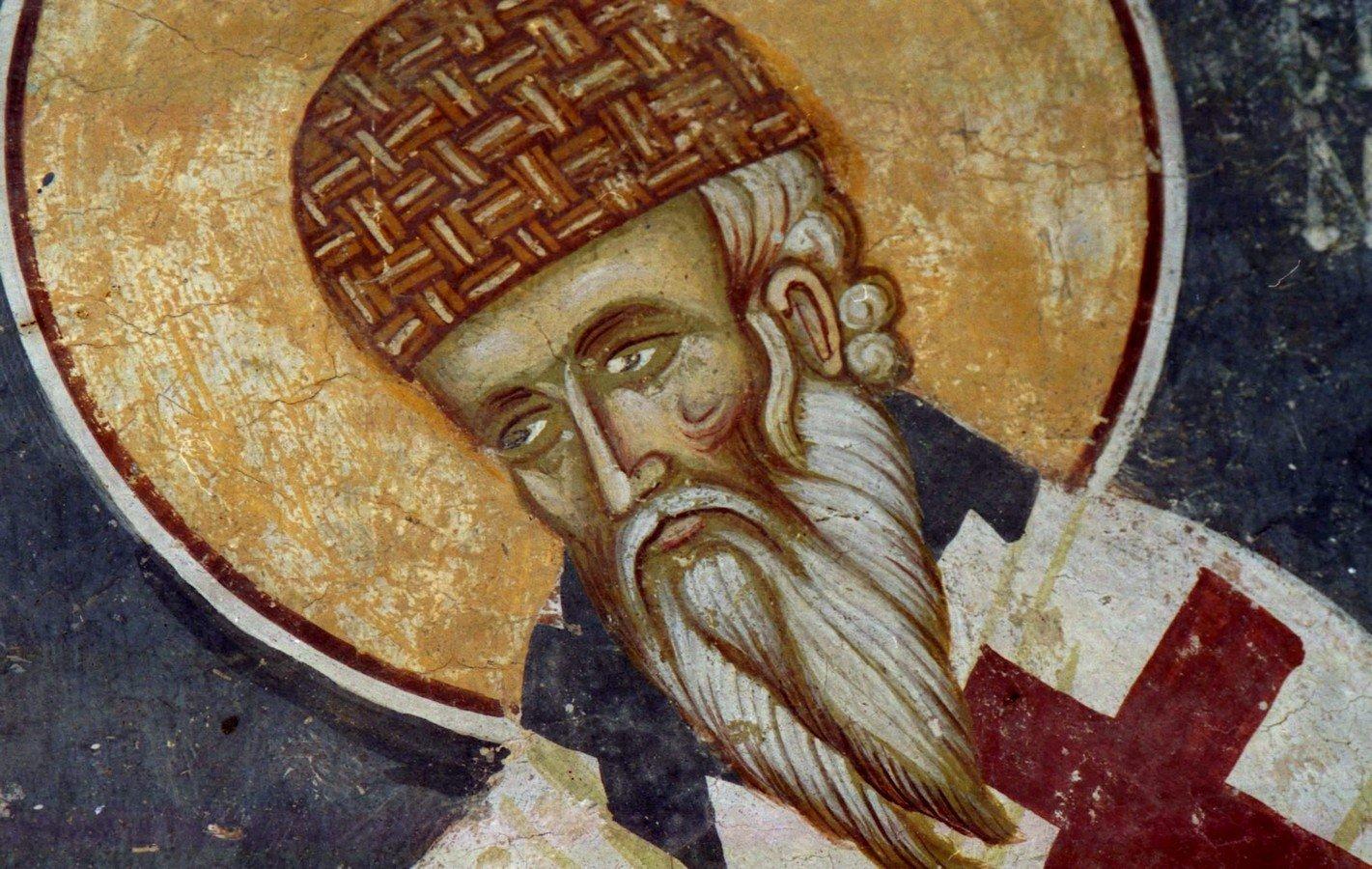 Святитель Спиридон, Епископ Тримифунтский, Чудотворец. Фреска церкви Спаса в Кучевиште, Македония. 1330 - 1340-е годы.