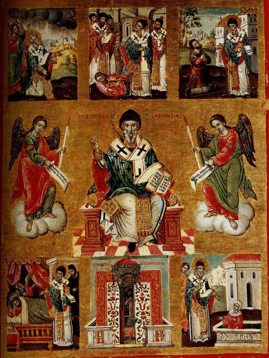 Святитель Спиридон, Епископ Тримифунтский, Чудотворец, с житием. Греческая икона 1744 года. Иконописец Николаос Калергис.