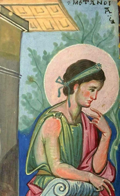 Пророк Нафан обличает царя Давида. Покаяние Давида. Миниатюра Парижской Псалтири. Византия, середина X века. Фрагмент. Персонификация Покаяния.