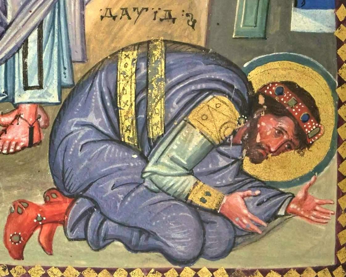 Пророк Нафан обличает царя Давида. Покаяние Давида. Миниатюра Парижской Псалтири. Византия, середина X века. Фрагмент.