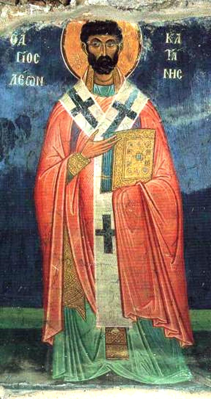 Святой Преподобный Лев, Епископ Катанский. Фреска монастыря Осиос Лукас, Греция. 1030 - 1040-е годы.