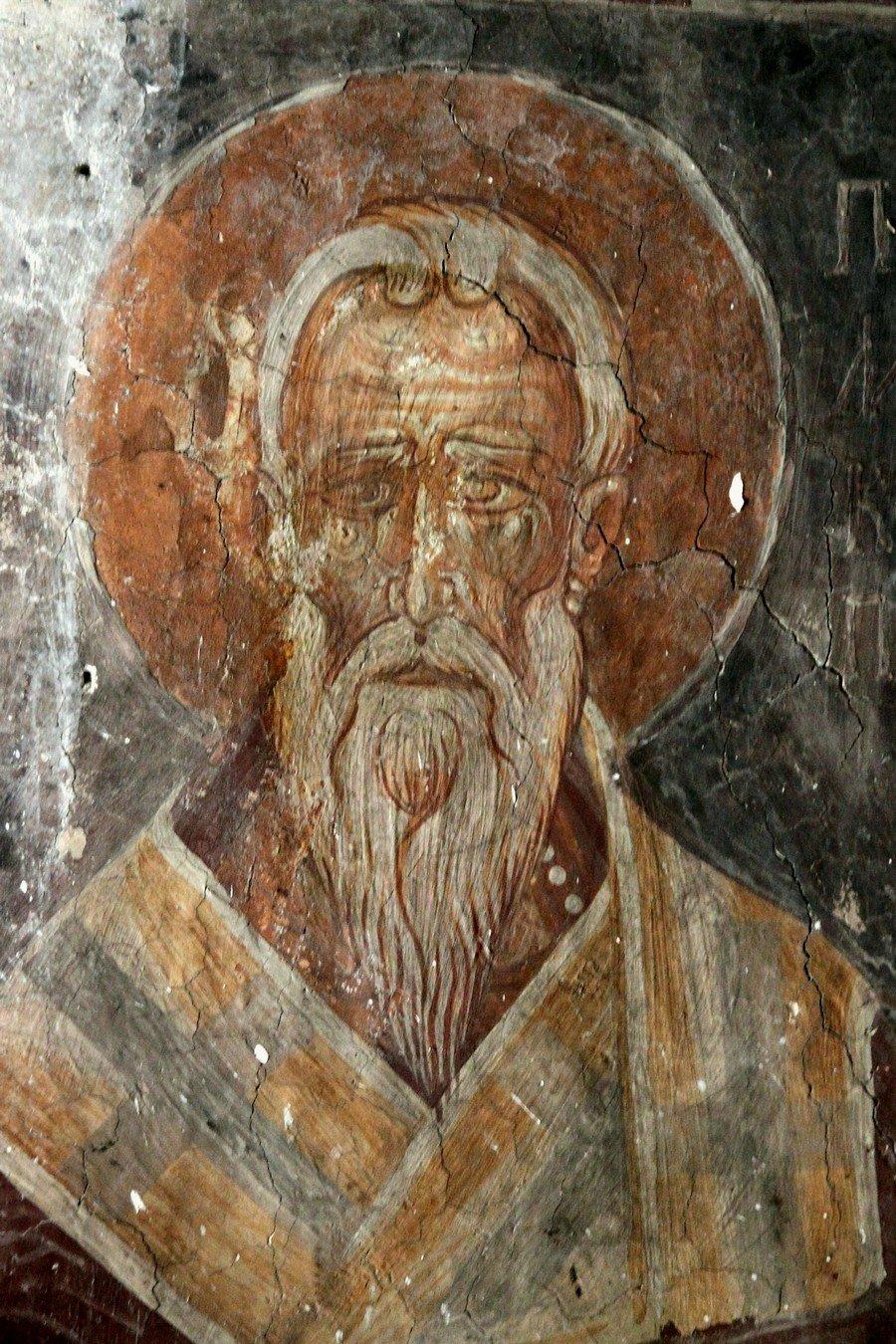 Священномученик Поликарп, Епископ Смирнский. Фреска церкви Святой Марины в Пирге, Кипр.