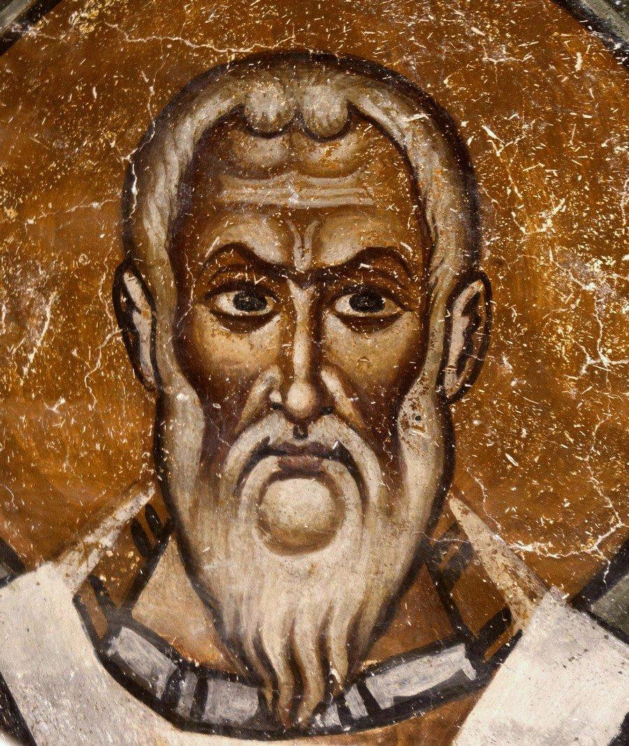 Священномученик Поликарп, Епископ Смирнский. Фреска собора Святой Софии в Охриде, Македония. XI век.