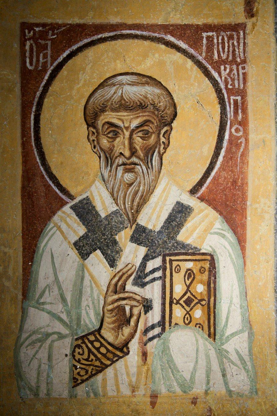 Священномученик Поликарп, Епископ Смирнский. Фреска церкви Святого Пантелеимона в Нерези близ Скопье. 1164 год.