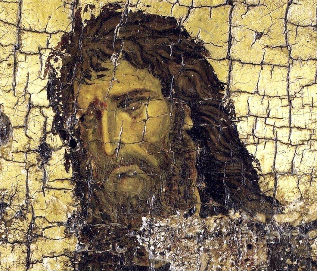 Святой Иоанн Предтеча. Фрагмент эпистилия темплона. Византия, XII век. Монастырь Ватопед на Афоне.