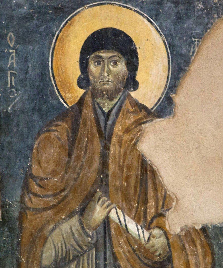 Преподобный отец. Византийская фреска в церкви Старая Митрополия в Верии, Греция.