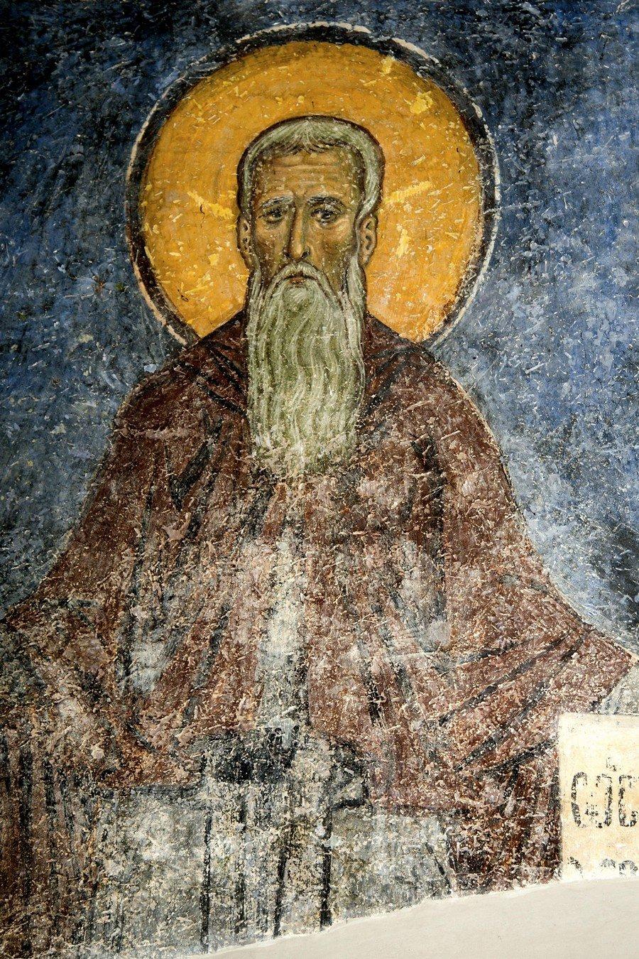 Преподобный отец. Фреска монастыря Святого Пантелеимона в Нерези близ Скопье, Македония. 1164 год.