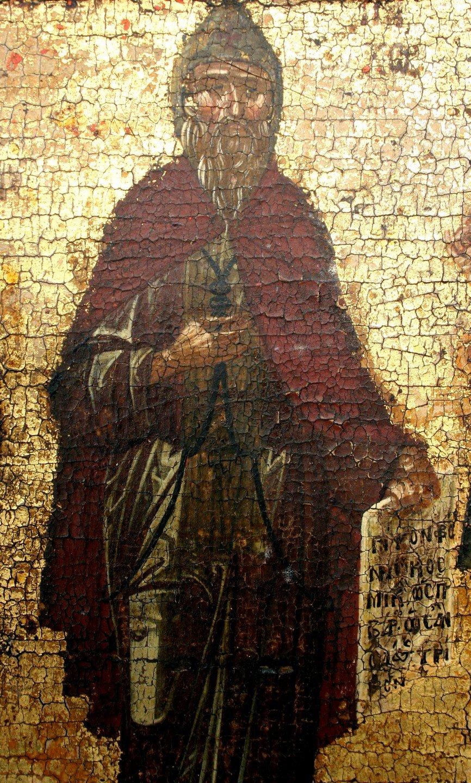 Святые Преподобные Иоанникий Великий, Савва Освященный, Пахомий Великий, Ефрем Сирин. Византийская икона XV века. Монастырь Ватопед на Афоне. Фрагмент. Святой Пахомий Великий.
