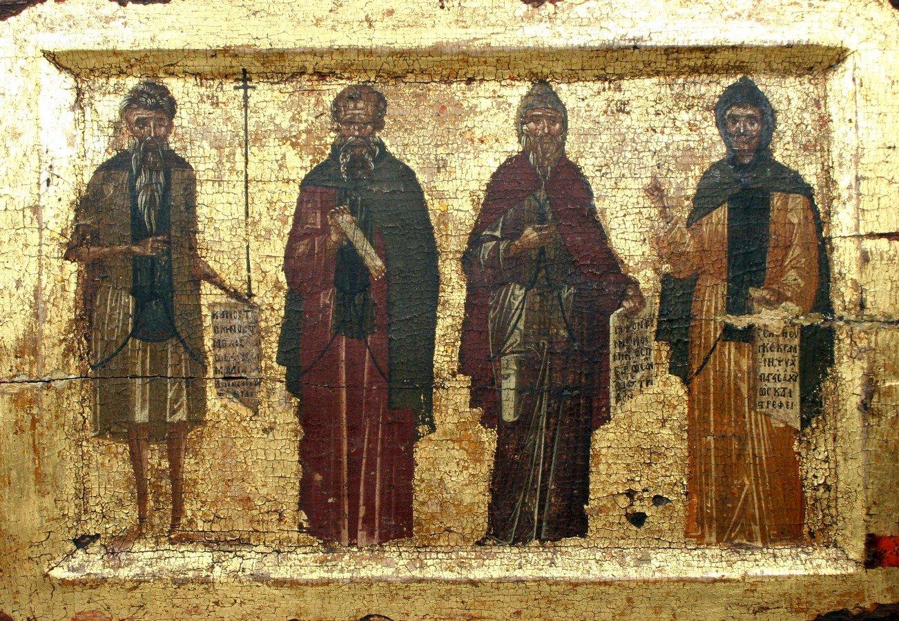 Святые Преподобные Иоанникий Великий, Савва Освященный, Пахомий Великий, Ефрем Сирин. Византийская икона XV века. Монастырь Ватопед на Афоне.