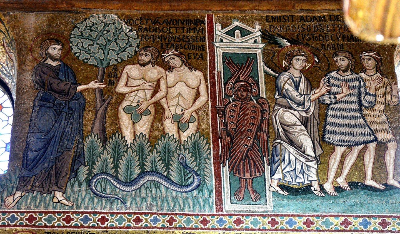 Господь обличает Адама и Еву. Изгнание из Рая. Византийская мозаика Палатинской капеллы в Палермо. XII век.