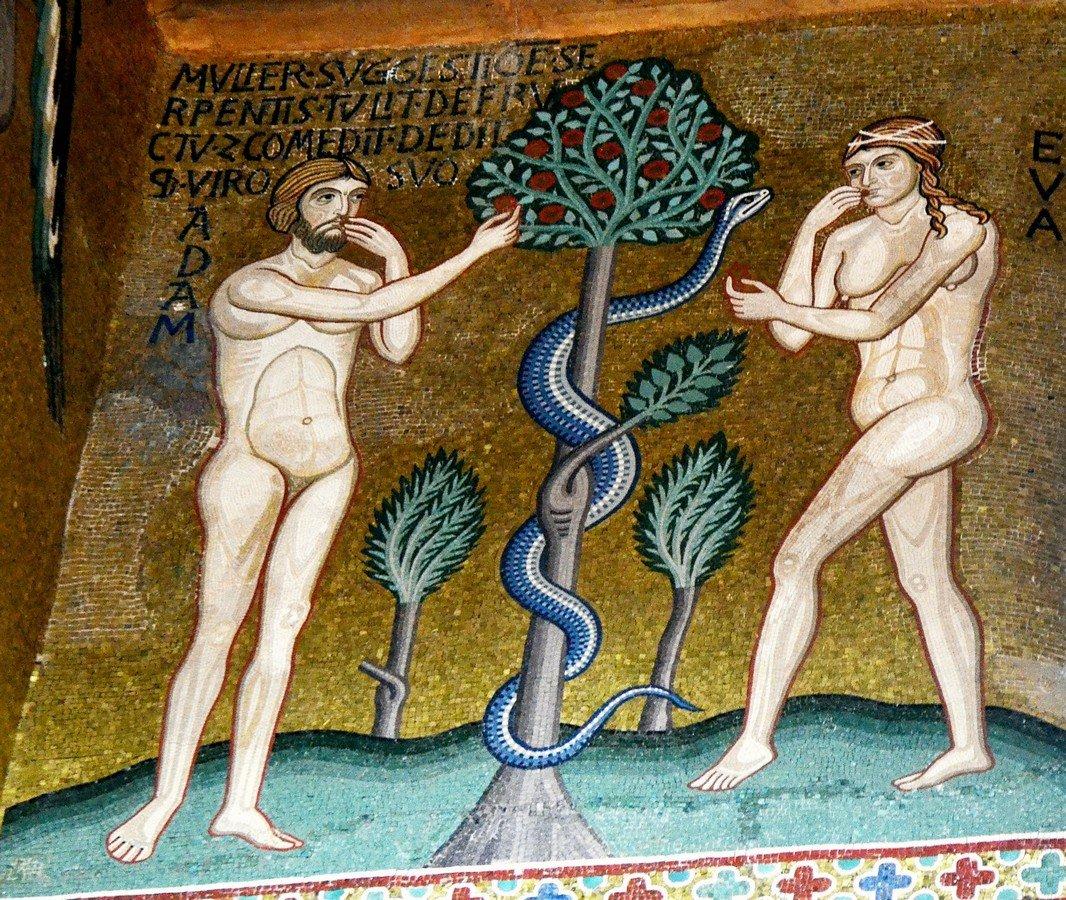 Грехопадение Адама и Евы. Византийская мозаика Палатинской капеллы в Палермо. XII век.