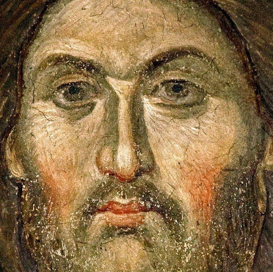 Лик Спасителя. Фреска монастыря Пантократор на Афоне. 1363 год.
