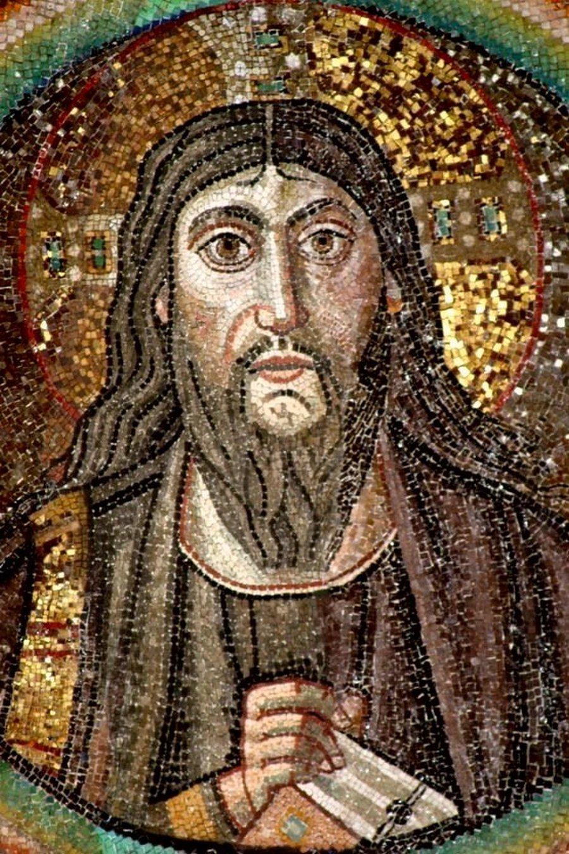 Господь Иисус Христос. Византийская мозаика в церкви Сан-Витале в Равенне. 546 - 548 годы.