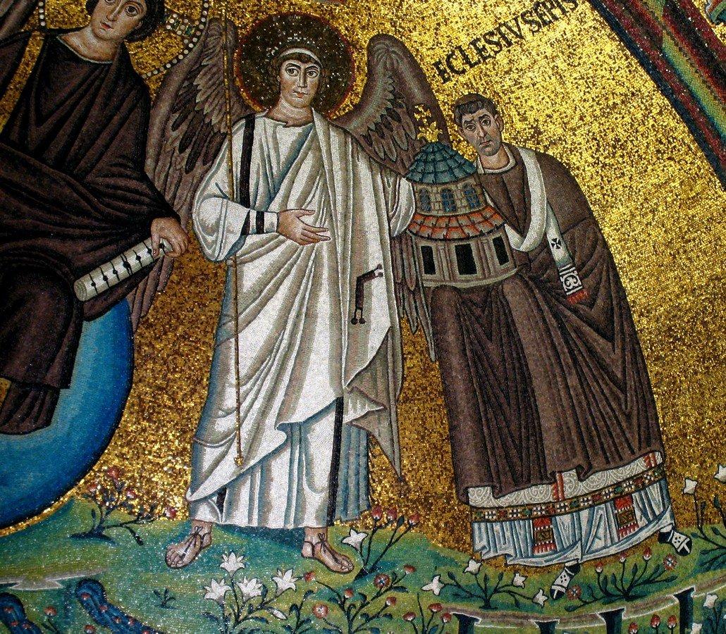 Господь Иисус Христос с предстоящими Святым Мучеником Виталием и епископом Равеннским Экклесием. Византийская мозаика в церкви Сан-Витале в Равенне. 546 - 548 годы. Фрагмент.