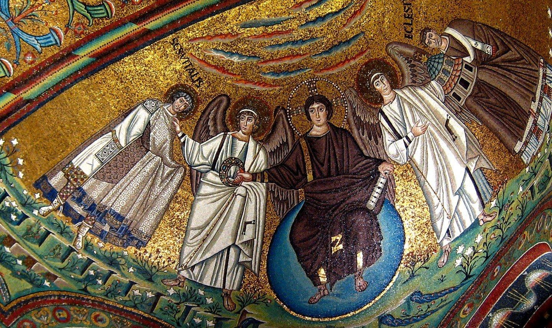 Господь Иисус Христос с предстоящими Святым Мучеником Виталием и епископом Равеннским Экклесием. Византийская мозаика в церкви Сан-Витале в Равенне. 546 - 548 годы.