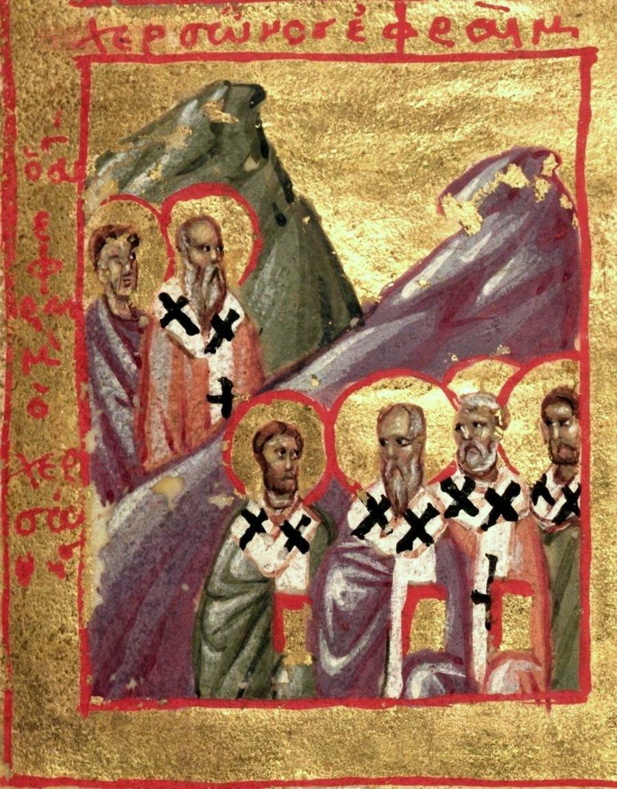 Священномученики, в Херсонесе епископствовавшие. Византийская миниатюра XIV века.