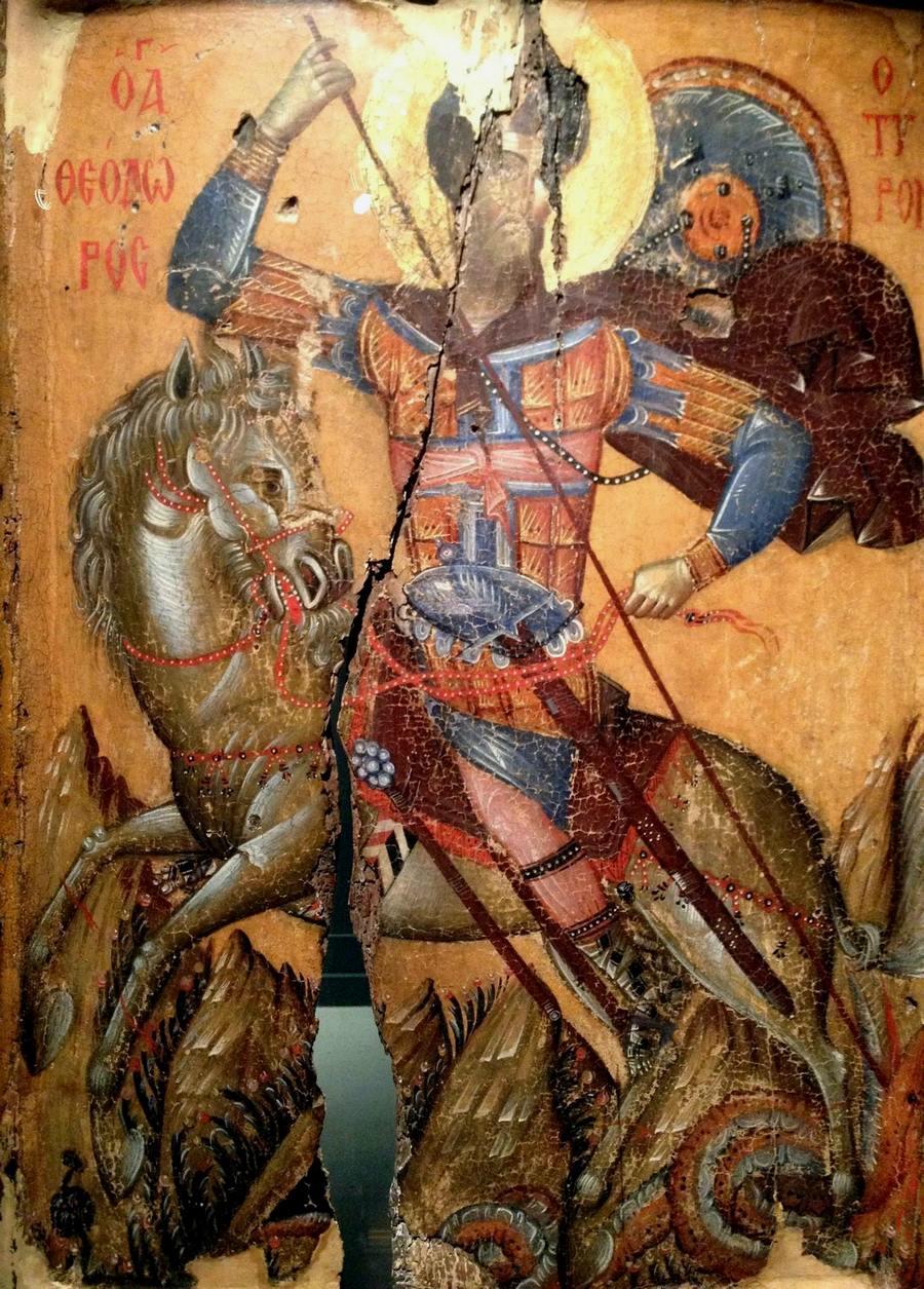 Чудо Святого Феодора Тирона о змие. Византийская икона XIV века.