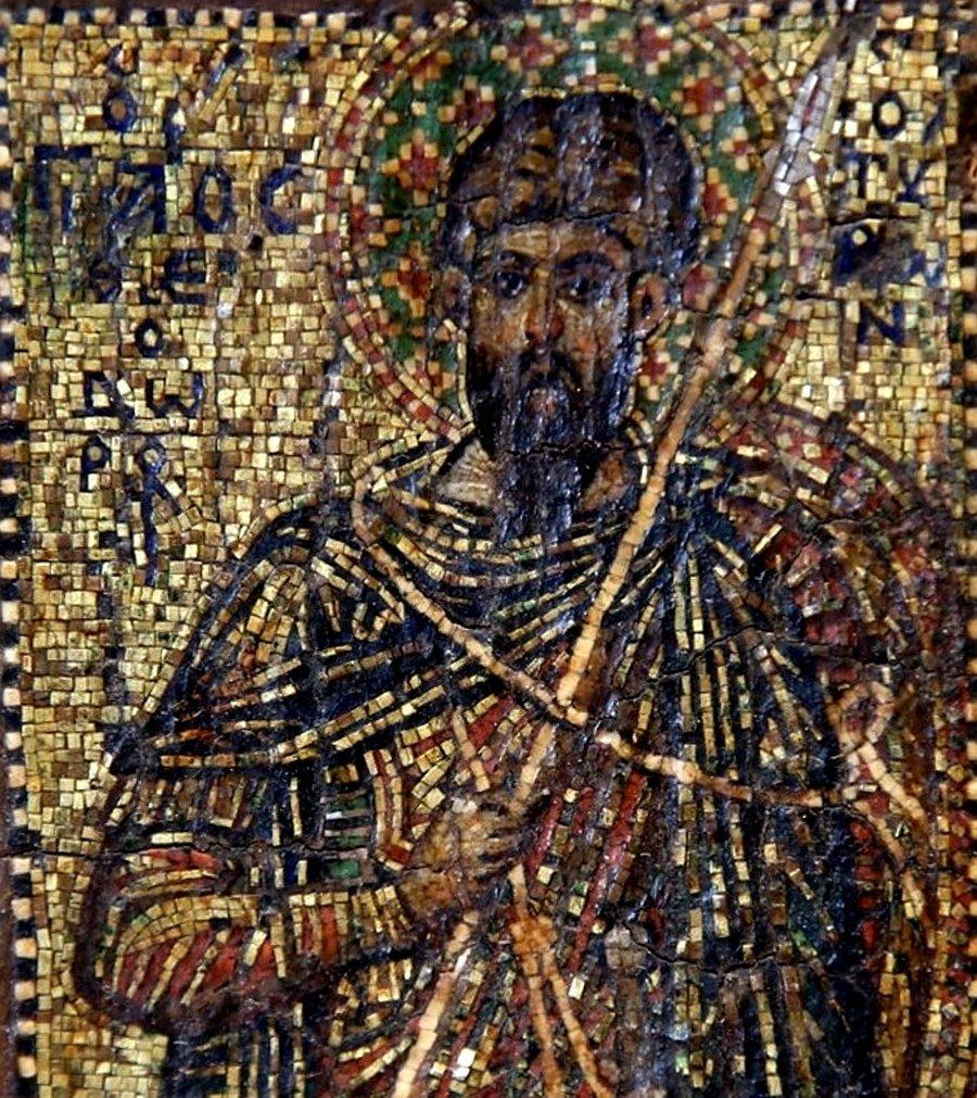 Святой Великомученик Феодор Тирон. Византийская мозаическая икона. Фрагмент.