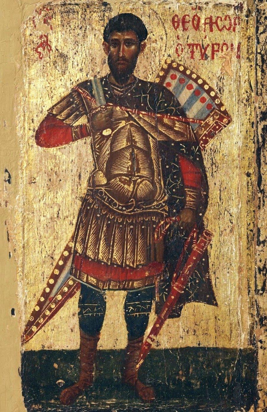 Святой Великомученик Феодор Тирон. Икона. Византия, около 1200 года. Монастырь Святого Иоанна Богослова на острове Патмос, Греция.