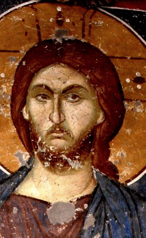 """Лик Спасителя. Фрагмент фрески """"Христос Пантократор"""". Монастырь Панагии Олимпиотиссы в Элассоне, Греция. Конец XIII - XIV век."""