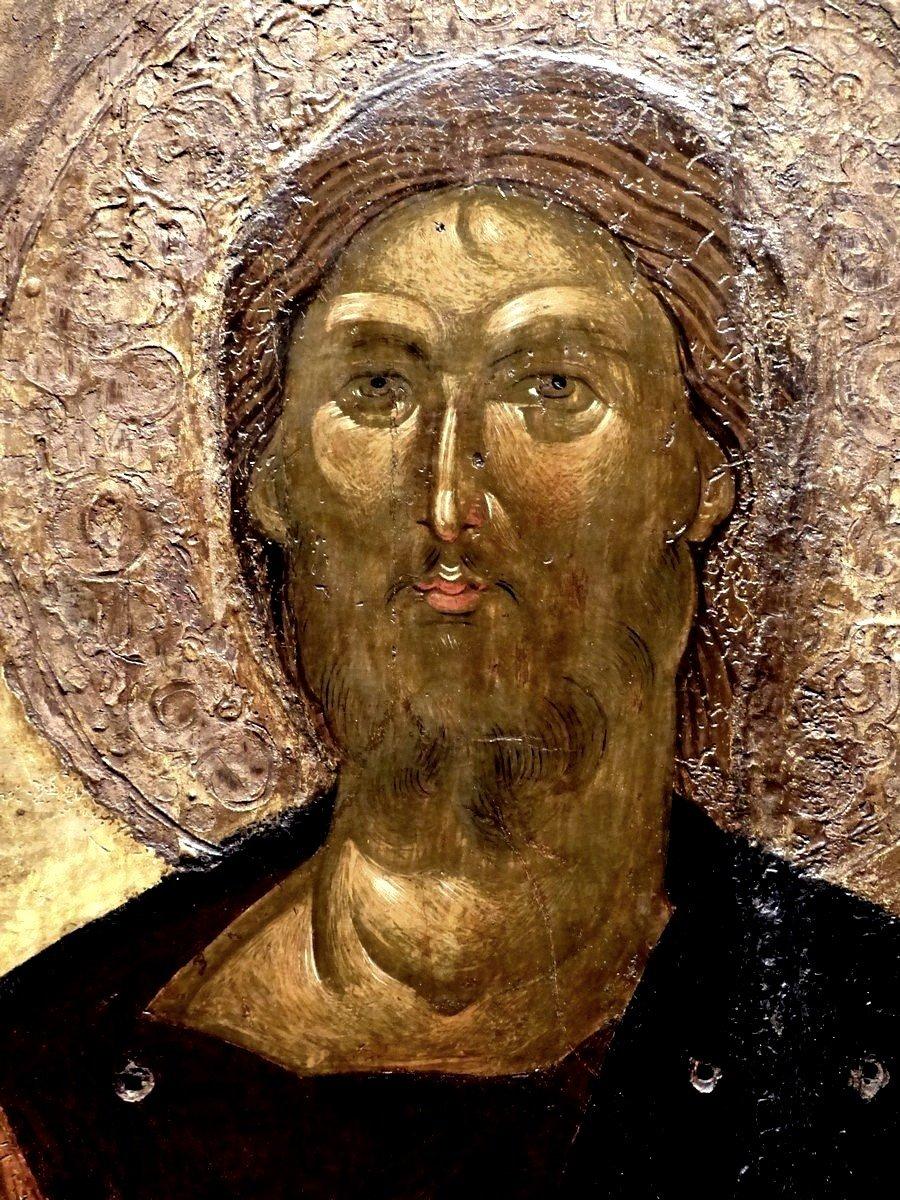 """Лик Спасителя. Фрагмент иконы """"Христос Пантократор"""". Византия, Фессалоники, XIV век. Византийский музей в Афинах."""
