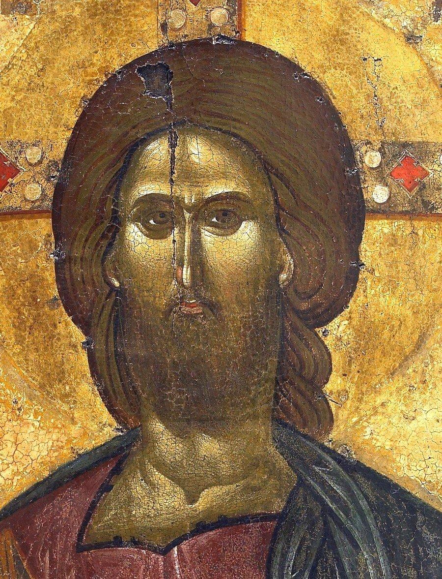 Христос Пантократор. Византийская икона XIV века. Монастырь Ватопед на Афоне. Фрагмент.