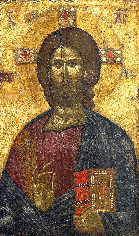 Христос Пантократор. Византийская икона XIV века. Монастырь Ватопед на Афоне.