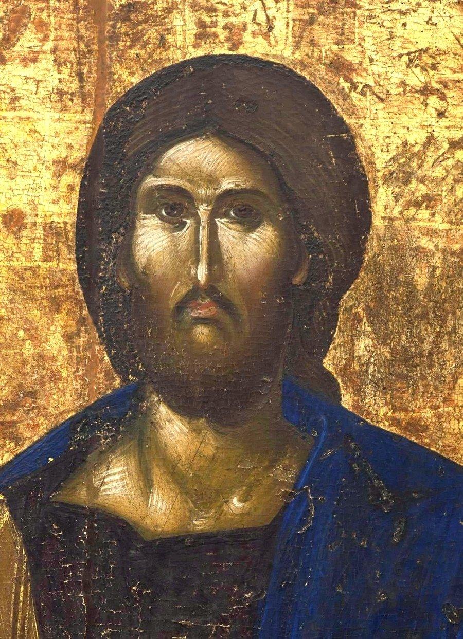 Христос Пантократор. Икона. Византия, 1370 - 1380-е годы. Византийский Церковный музей в Митилини, Греция. Фрагмент.