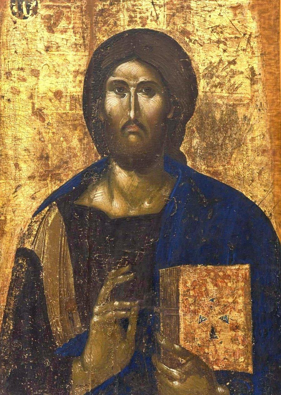 Христос Пантократор. Икона. Византия, 1370 - 1380-е годы. Византийский Церковный музей в Митилини, Греция.