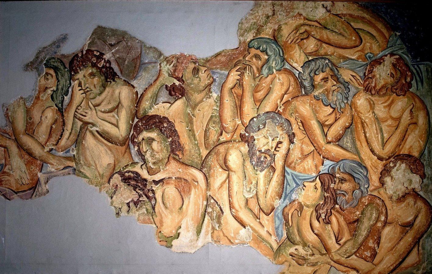 Святые Сорок Мучеников Севастийских. Фреска монастыря Святого Леонтия в Водоче, Македония. XI век.
