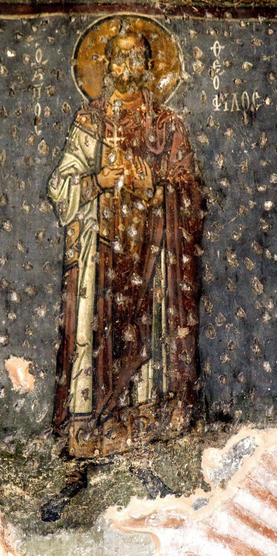 Святой Мученик Феофил Севастийский. Фреска церкви Панагии Ахиропиитос в Салониках, Греция. Начало XIII века.