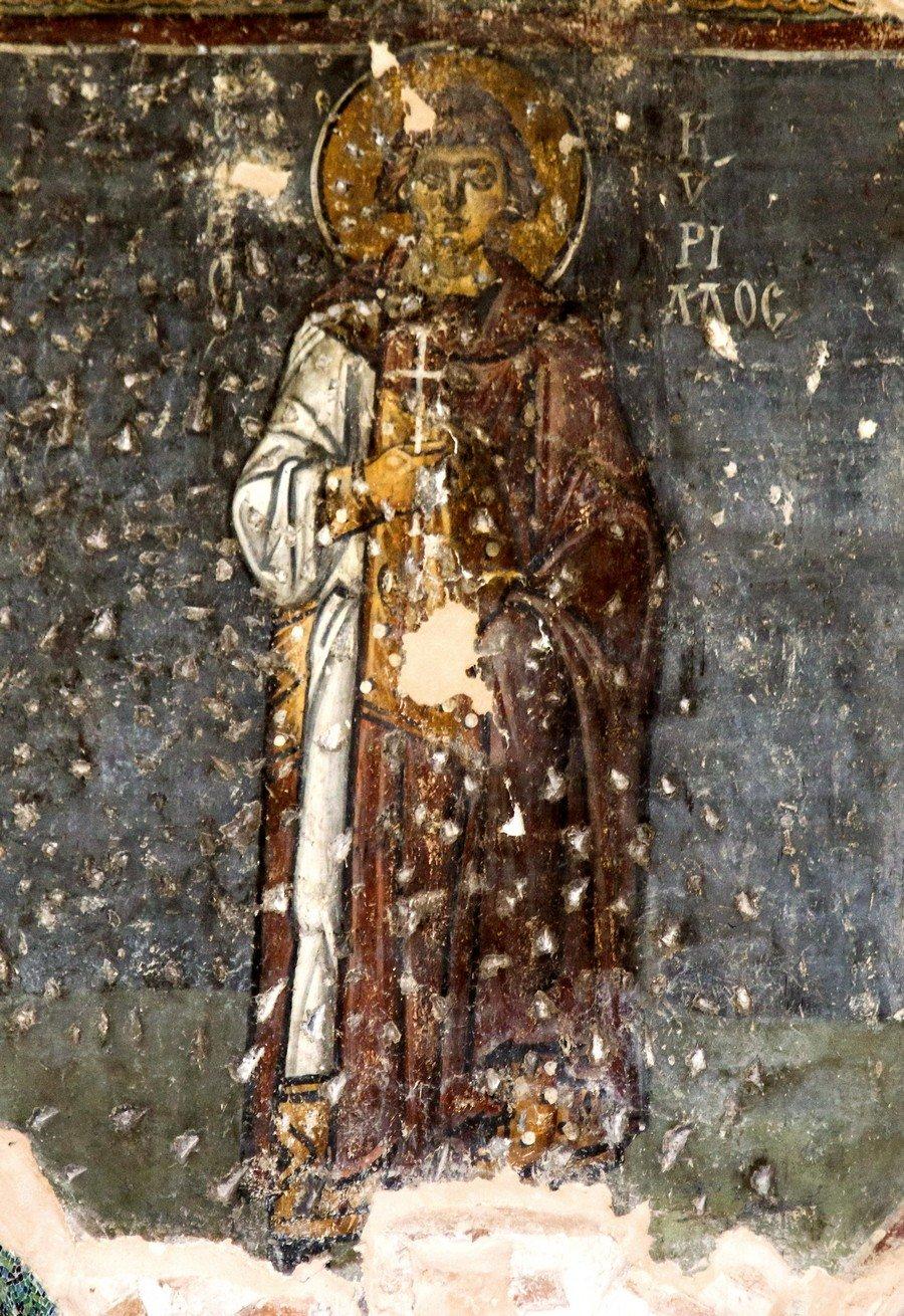 Святой Мученик Кирилл Севастийский. Фреска церкви Панагии Ахиропиитос в Салониках, Греция. Начало XIII века.