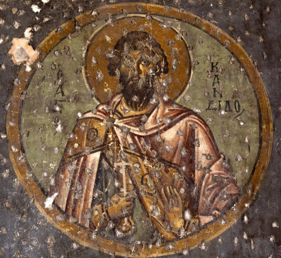 Святой Мученик Кандид Севастийский. Фреска церкви Панагии Ахиропиитос в Салониках, Греция. Начало XIII века.