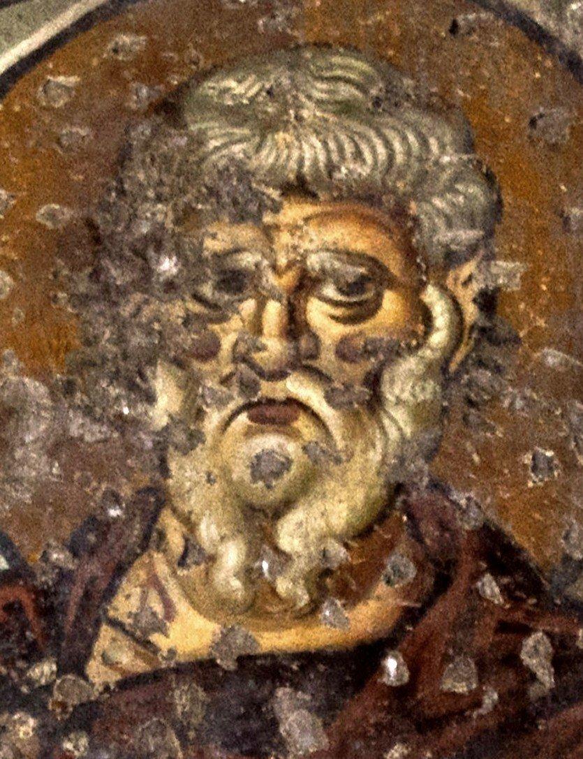 Святой Мученик Горгоний Севастийский. Фреска церкви Панагии Ахиропиитос в Салониках, Греция. Начало XIII века.