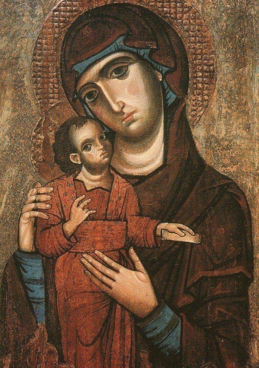 Пресвятая Богородица с Младенцем. Икона. Италия, Козенца, XIII век. Художник Джованни да Таранто.