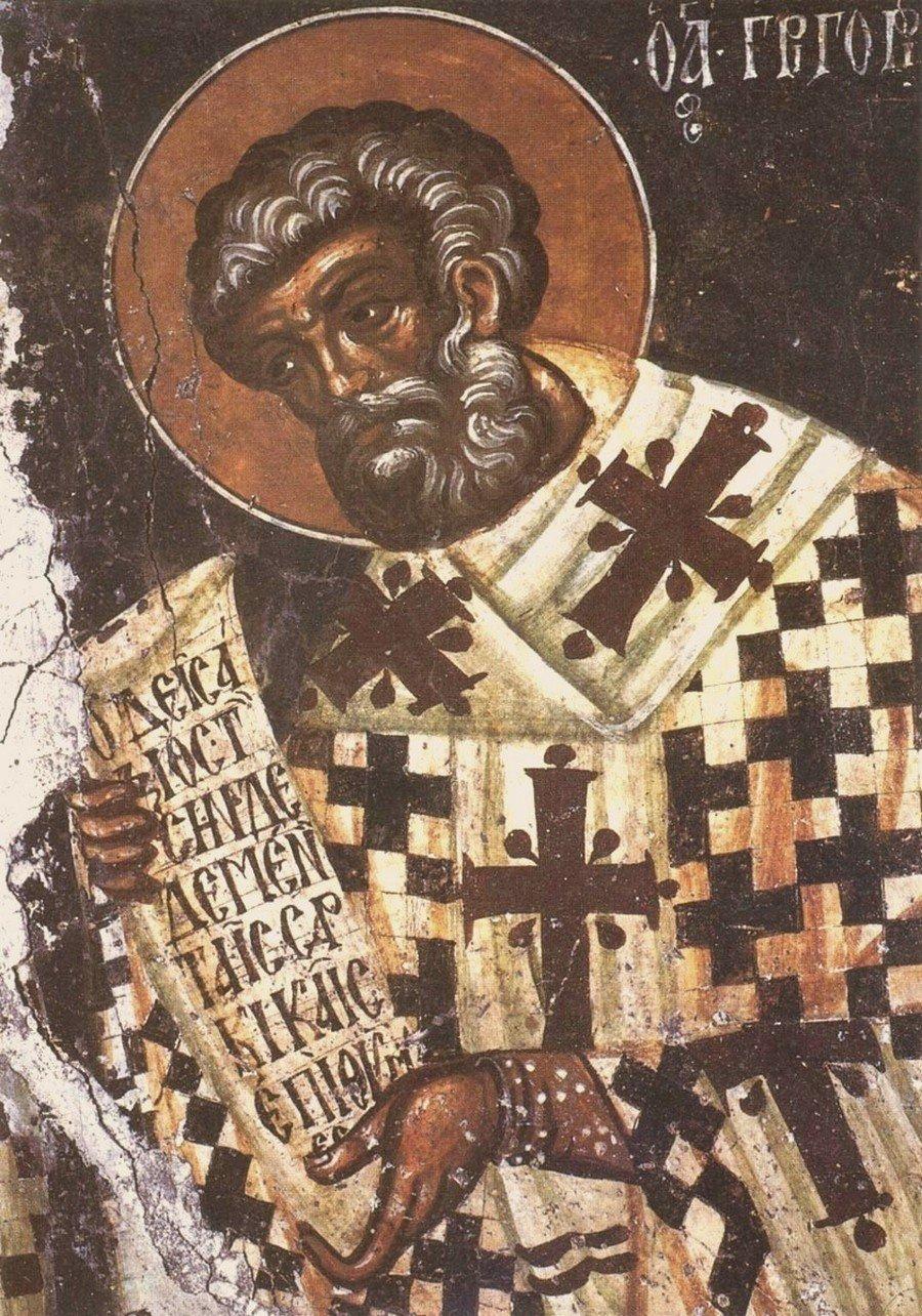 Святитель Григорий Двоеслов, Папа Римский. Фреска церкви Успения Пресвятой Богородицы в Меронасе на Крите. XIV век.