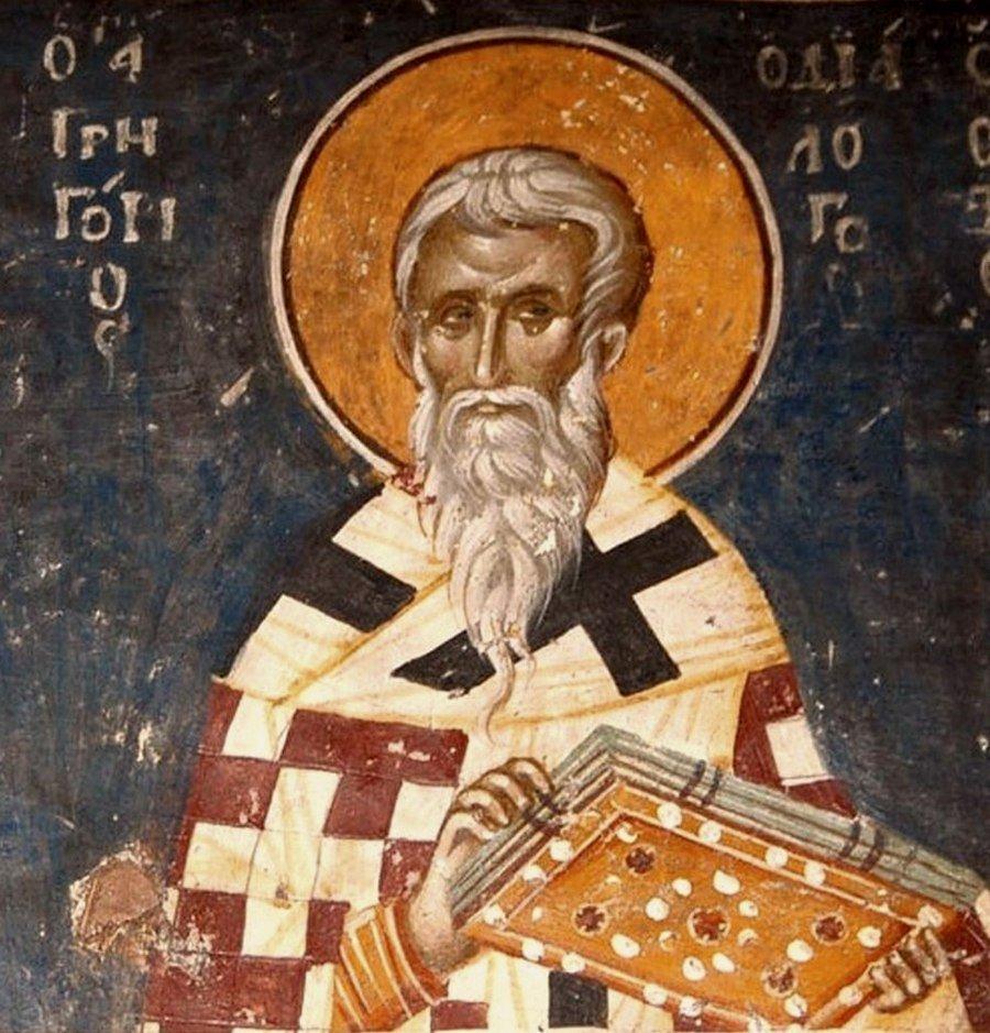 Святитель Григорий Двоеслов, Папа Римский. Фреска церкви Святого Николая Орфаноса в Салониках, Греция. 1310 - 1315 годы.