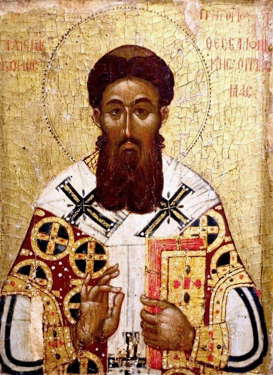Святитель Григорий Палама, Архиепископ Фессалонитский. Икона. Византия, Фессалоники, 1370 - 1380-е годы. ГМИИ.