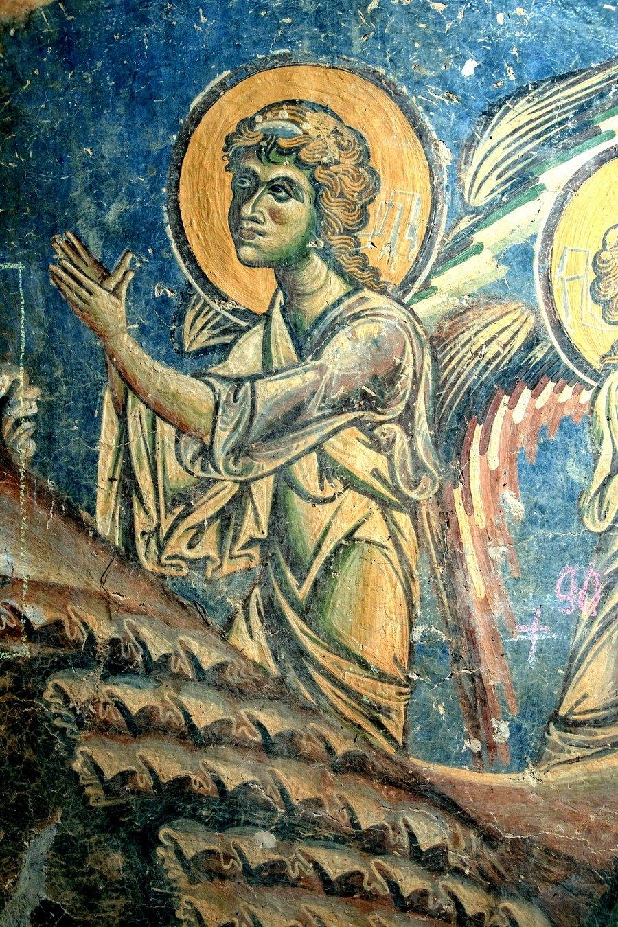 Ангел Господень. Фрагмент фрески церкви Святого Георгия в Курбиново, Македония. 1191 год.