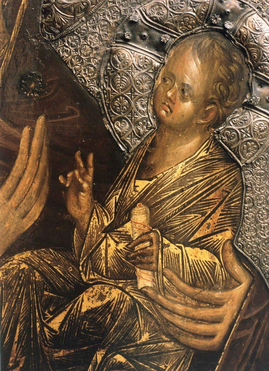 "Икона Божией Матери ""Перивлепта"". Византия, начало XIV века. Галерея икон в Охриде, Македония. Фрагмент."