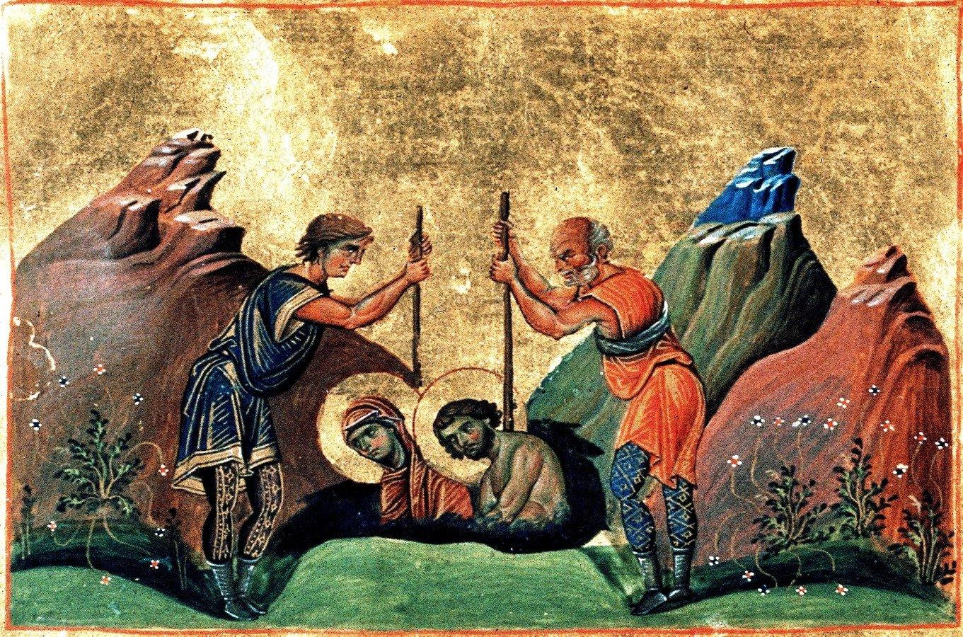 Мученичество Святых Хрисанфа и Дарии. Миниатюра Минология (месяцеслова) императора Василия II. Византия, 985 год.