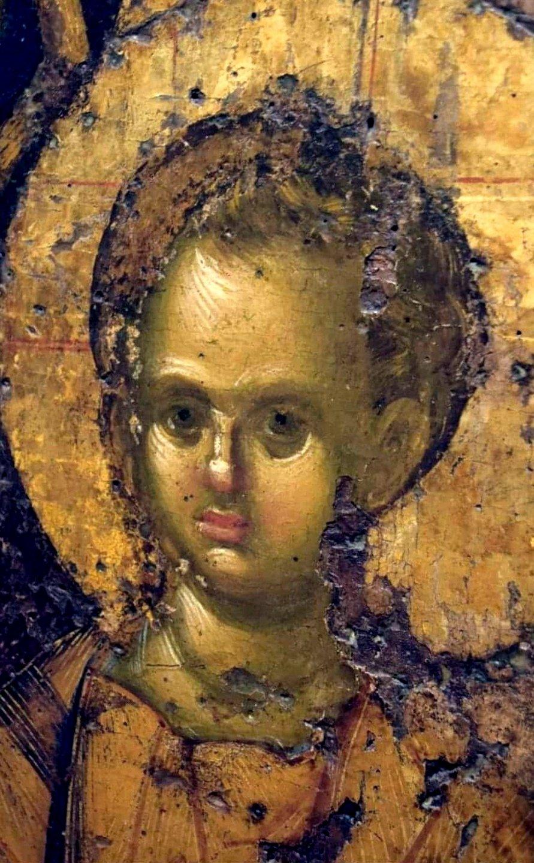 Богоматерь Одигитрия. Византийская икона. Родос. Фрагмент.