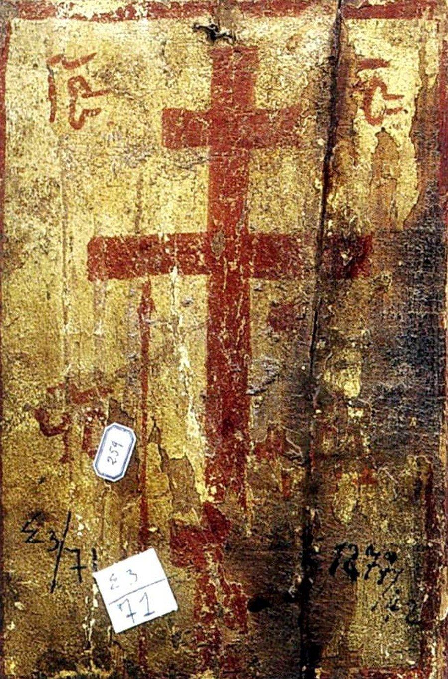 """Святой Крест. Обратная сторона иконы Божией Матери """"Одигитрия"""". Византия, XIII век. Монастырь Святой Екатерины на Синае."""