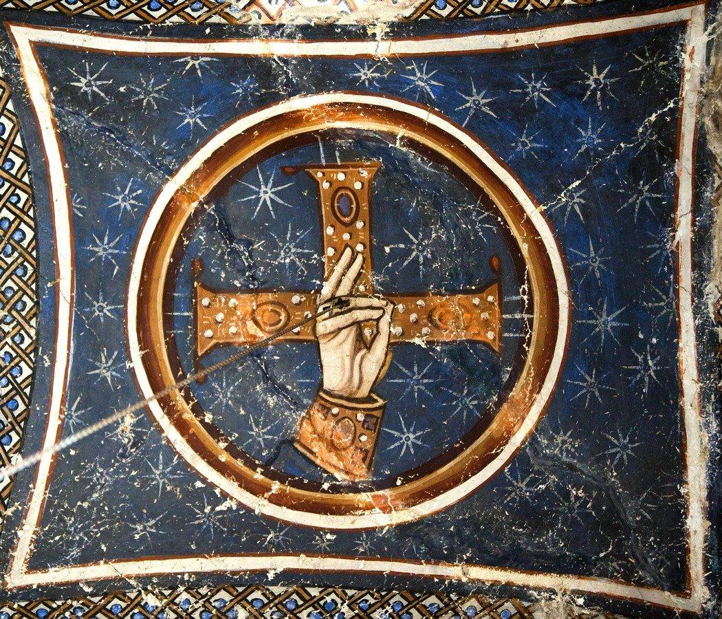 Святой Крест с благословляющей десницей Божией. Фреска монастыря Осиос Лукас, Греция. 1030 - 1040-е годы.