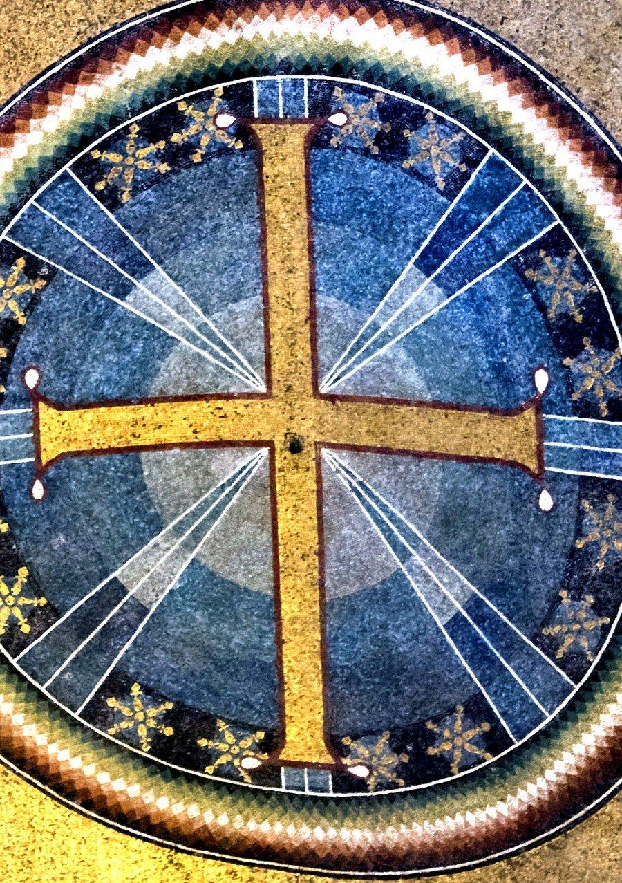 Святой Крест. Мозаика собора Святой Софии в Салониках, Греция. Около 843 - 885 годов.
