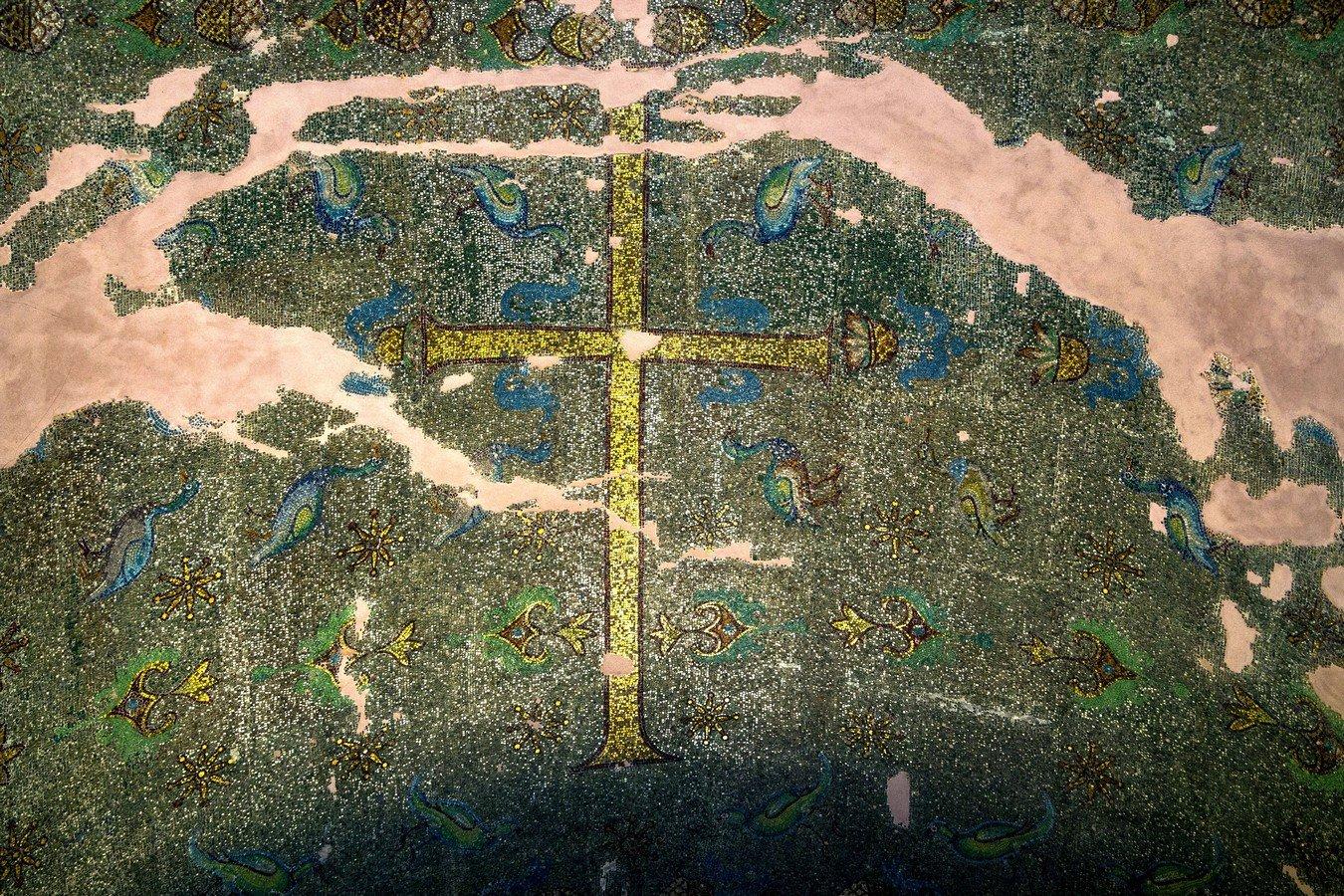 Святой Крест. Мозаика церкви Святого Георгия (Ротонды) в Салониках, Греция. Конец IV - третья четверть V века.