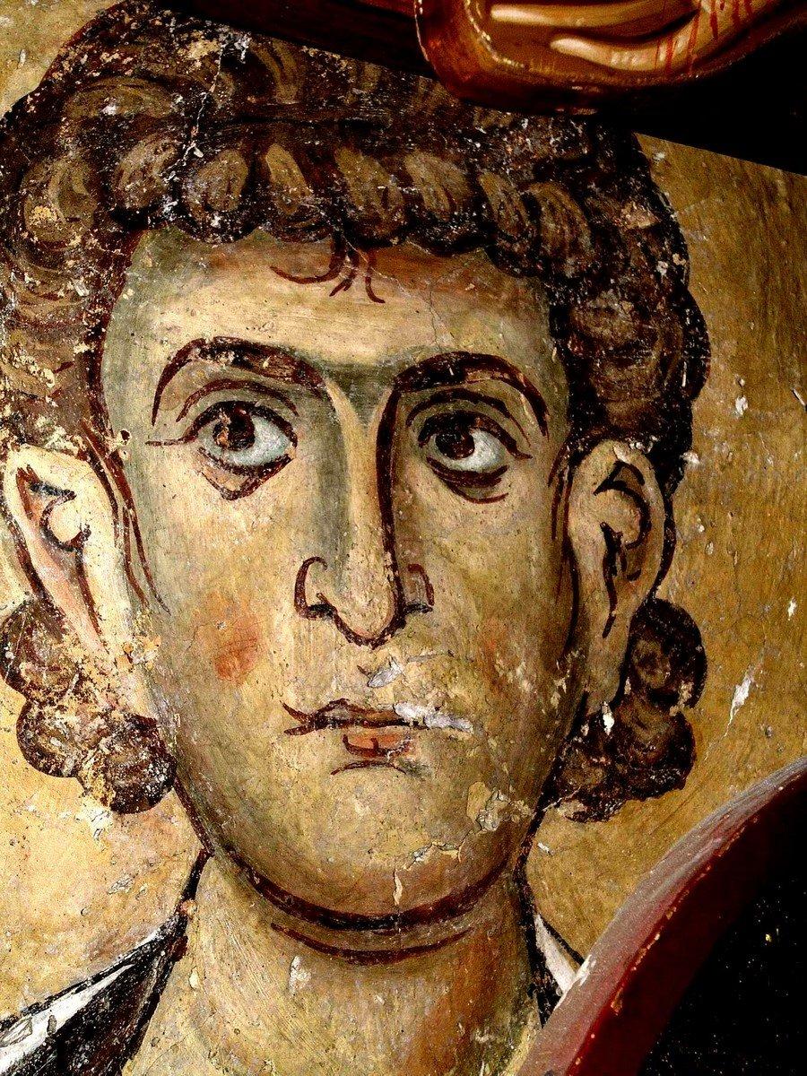 Святой диакон Афанасий Пентасхинитис, Чудотворец. Фреска церкви Панагии Амасгу на Кипре. 1105 - 1106 годы.