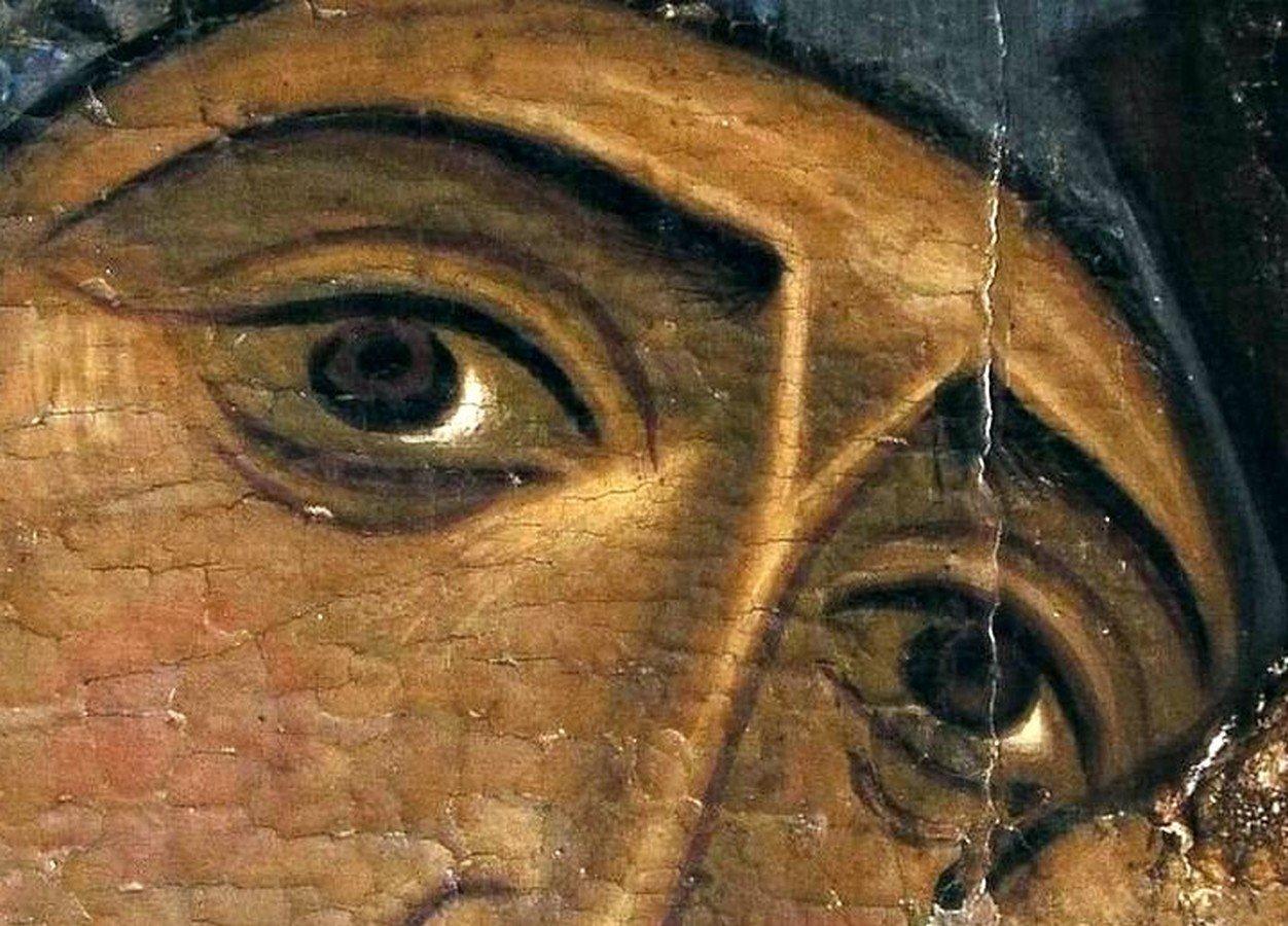Лик Пресвятой Богородицы. Фрагмент византийской иконы. Кипр.