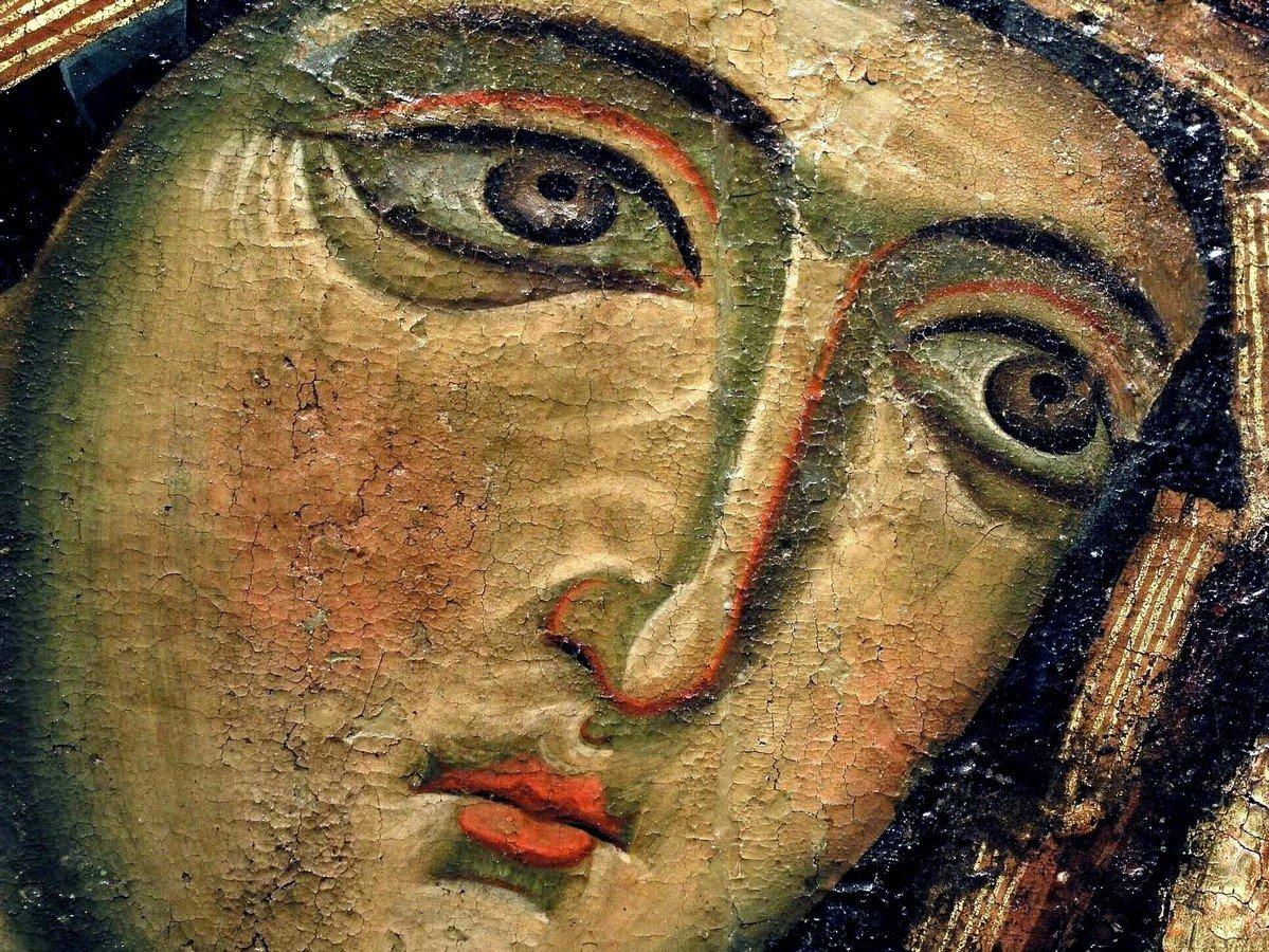 Богоматерь Одигитрия. Кипрская икона. Фрагмент.